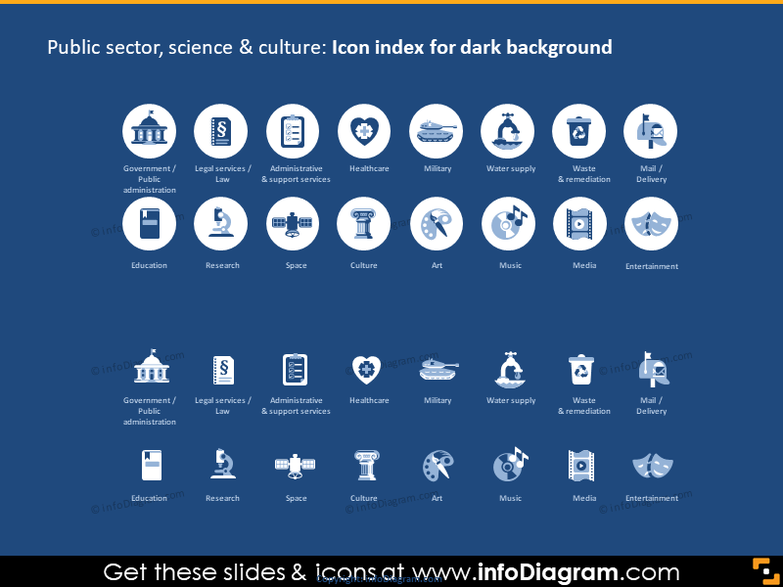 Public Administration Services icons PPT dark blue