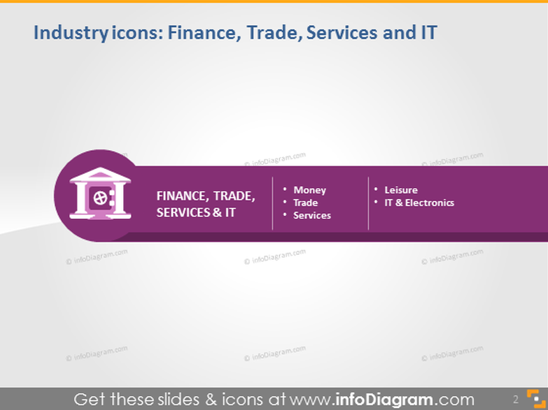finance industry icons powerpoint dark light background