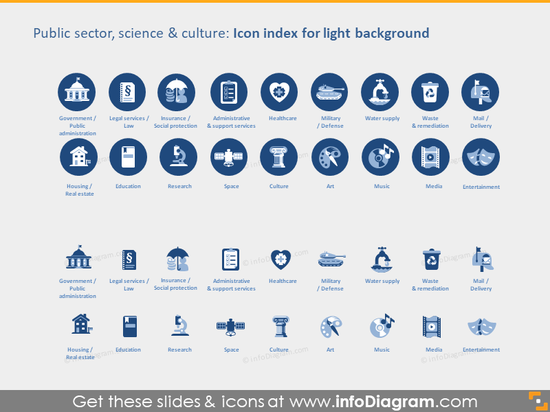 public admin sectors transport icons light flat ppt icons