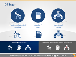 Petroleum oil gas Pumpjack fuel gasoline pipelone icon ppt