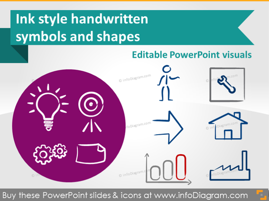Handwritten Symbols - Ink style (PPT icons & clipart)