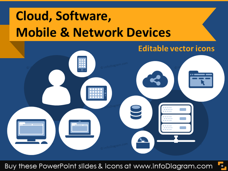 IT icons Cloud, Software, Mobile & Network devices (flat PPT clipart)