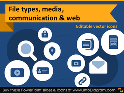 IT icons File Types, Media, Web, Communication (flat PPT clipart)