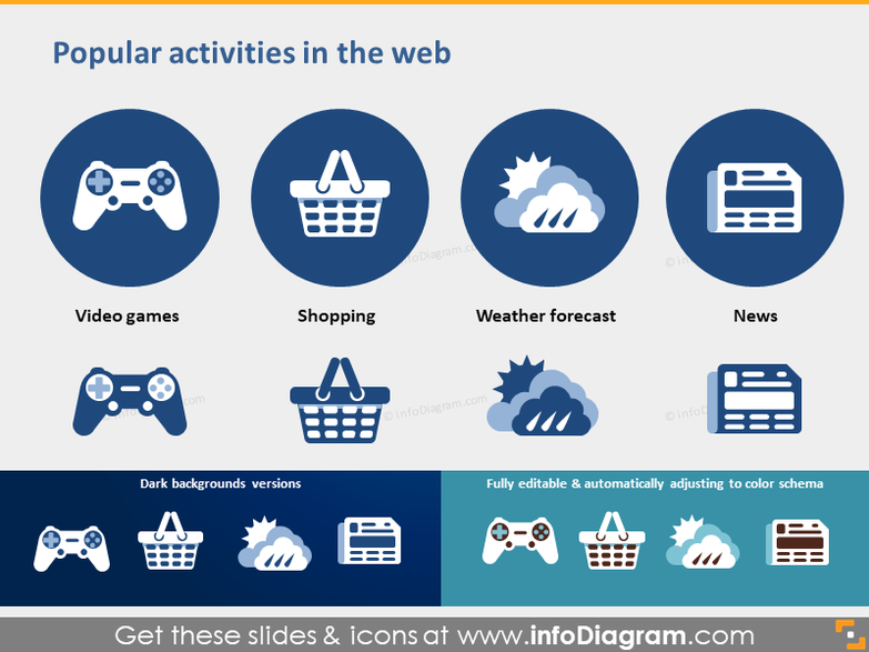 website activity icons game shop weather news pptx