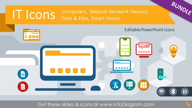 IT Icons: Mobile & Smart Devices, Computer & Telecom Networks (PPT Template)