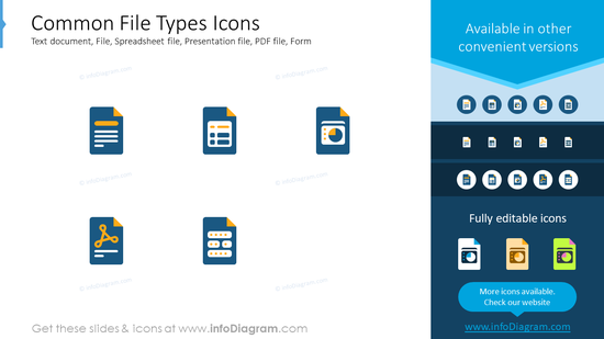 Common file types icons: text document, file, spreadsheet file