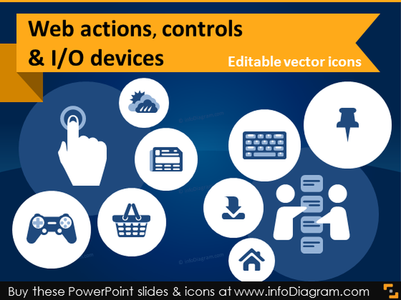 IT icons Website Actions Content Controls (flat PPT clipart)