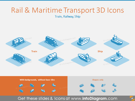 Rail and Maritime Transport 3D Icons: Train, Railway, Ship