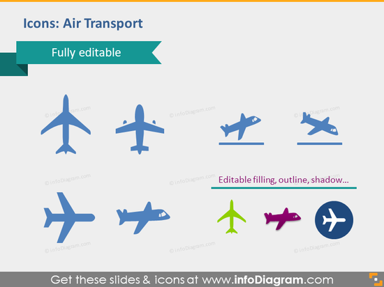 transport air plane flights supply icons powepoint