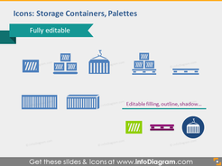 Storage containers palettes icons editable pptx cliparts