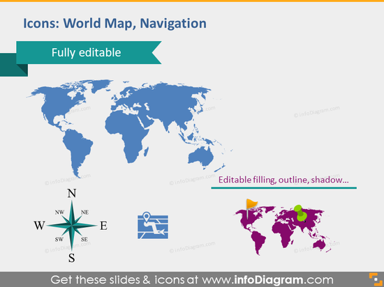 world map navigation direction path icons powerpoint