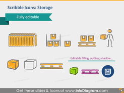 scribble storage magazine package palette icons ppt infographics