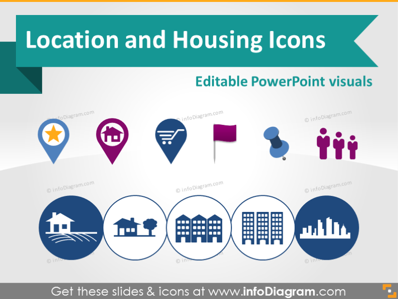 Location and House Logistics symbols (PPT clipart)