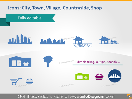 town village countryside shop city pictogram powerpoint cliparts