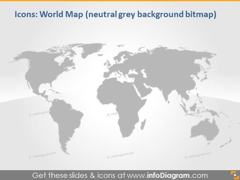 grey natural world map infographics clip art pptx