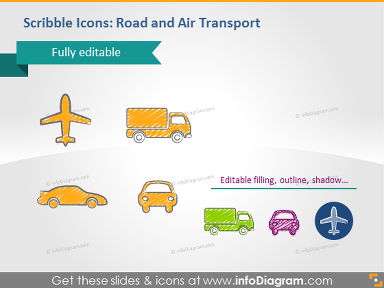 Scribble icons road air transport powerpoint pictograms