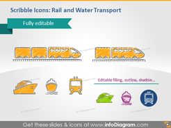 Rail water shipping train transport scribble clipart pptx