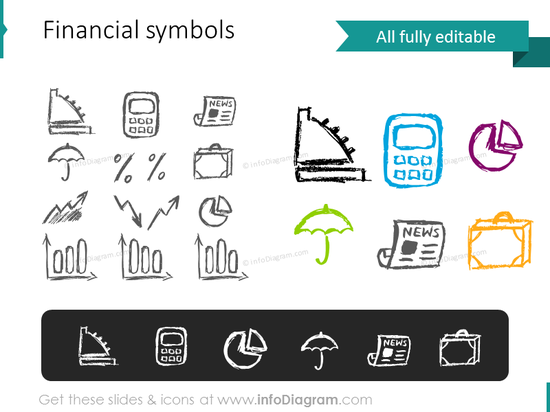 finance sketch pictograms calculator counter chart news ppt clipart