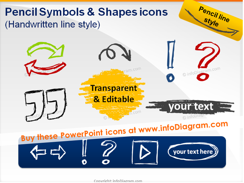 Pencil Sketch Symbols and Shapes (PPT icons & clipart)