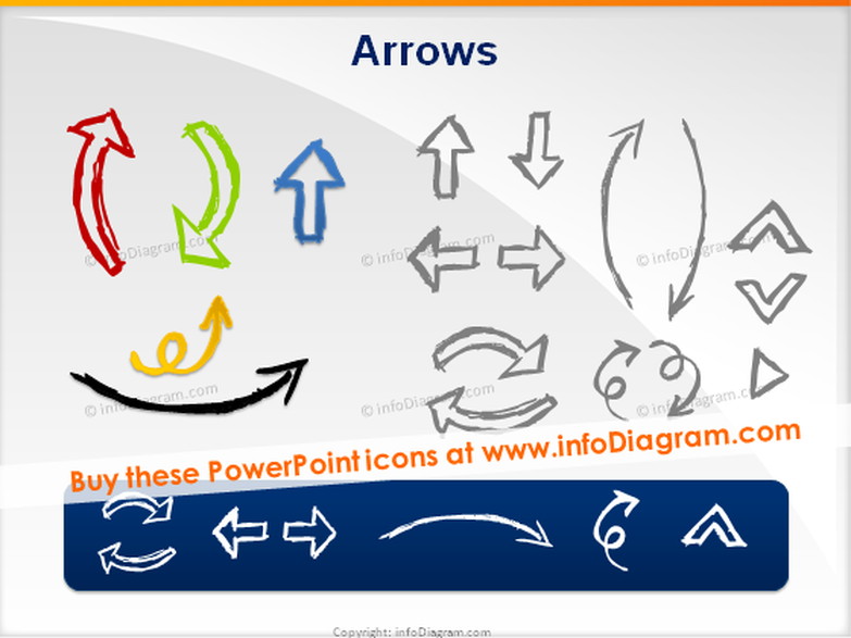 handdrawn arrows by pencil ppt sketch icons