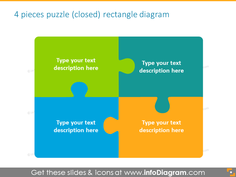 puzzle integrity diagram square 4  closed ppt clipart shapes