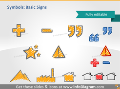 scribble basic signs quotation mark handwritten pictograms icons ppt clipart