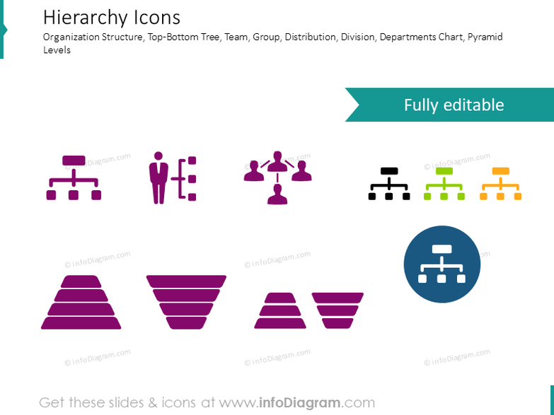 Hierarchy, organization and network icons