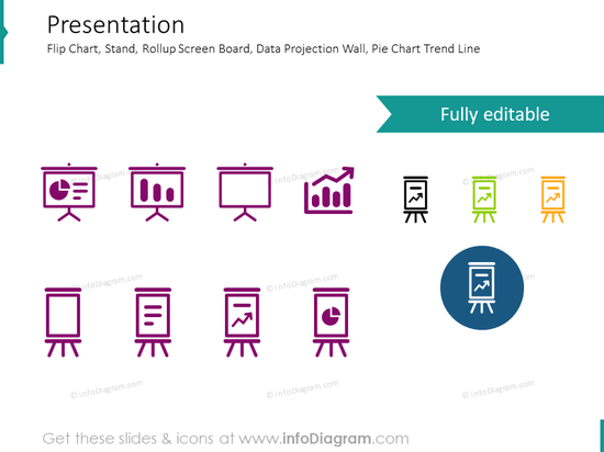 Screen, presentation, pie chart, flip chart, data projection icons