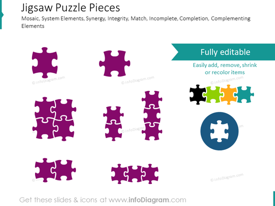 Puzzle ppt shape, mozaic element