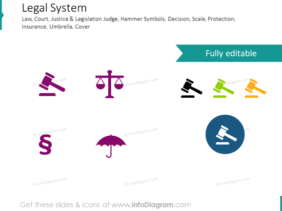 Law, Legal System, Scale, Protection, Justice and Legislation Symbols