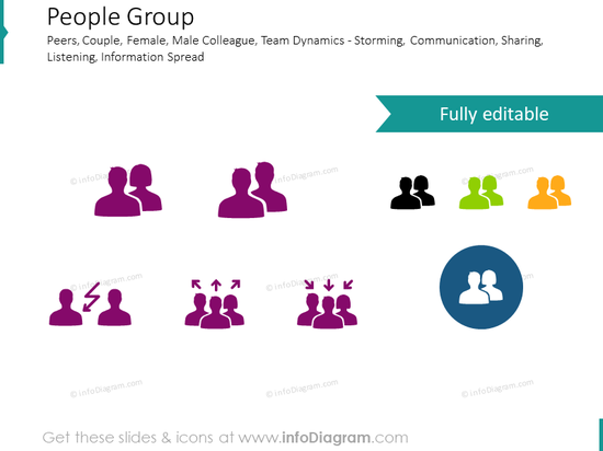 Storming and communication icons: People Group, Team, Group dynamics
