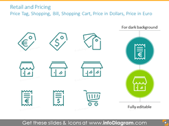 Retail and pricing icons: Price Tag, Shopping, Bill, Shopping Cart