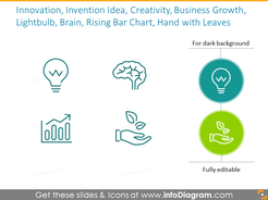 Idea, innovation and business growth icons