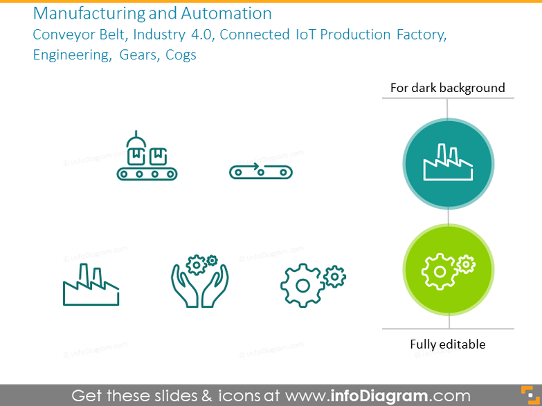 Manufacturing and automation symbols: factory, engineering, gears