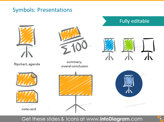 scribble presentation flipchart symbols handwritten pictograms icons ppt clipart