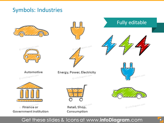 industry symbol auto electric car finanse retail ppt icon
