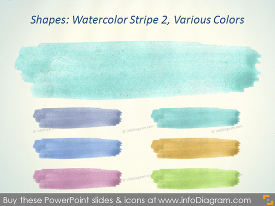 Water color Stripe Brush turquoise violet Aquarelle ppt clipart