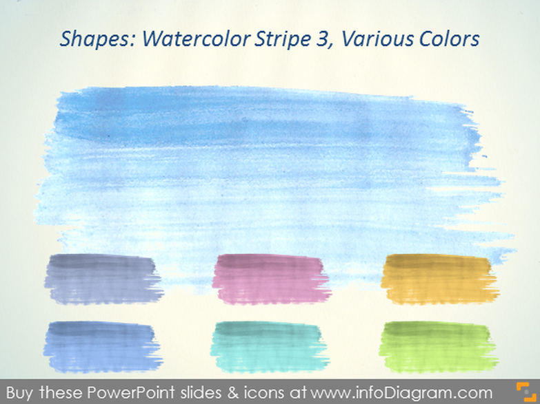 Water color Stripe Brush blue grey Aquarelle ppt icon