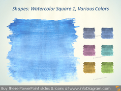 Water color square Brush blue grey Aquarelle ppt icon