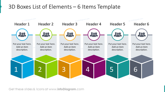 3D boxes list designed for 6 elements with human icons