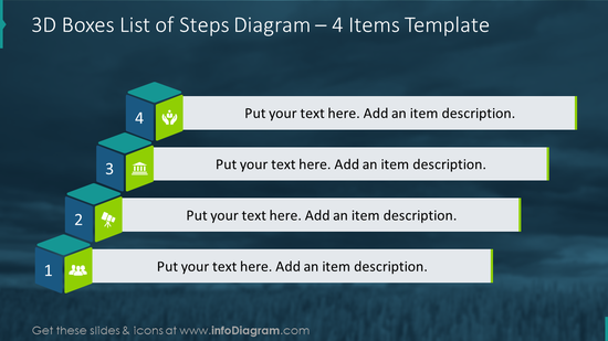 4 items list of steps illustrated with 3D boxes design