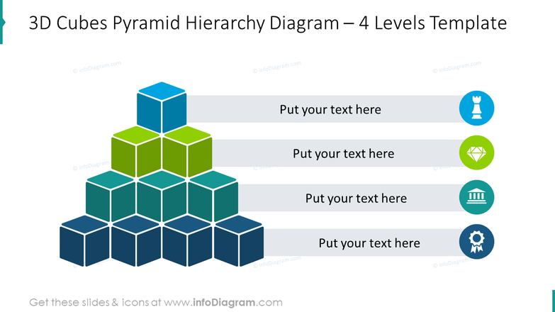 3D cubes pyramid hierarchy diagram for 4 levels with flat symbols
