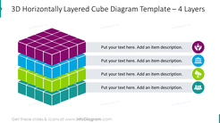 3D horizontal cube graphics for 4 layers with flat icons