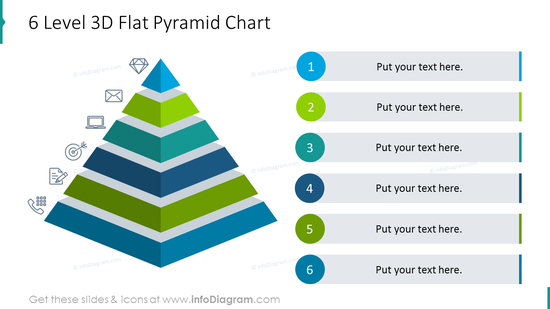 Six level 3D flat pyramid chart