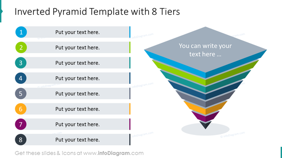 Inverted pyramid template with eight tiers