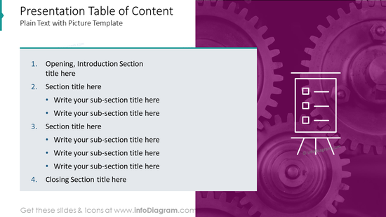 Presentation table of contentplain text with picture template