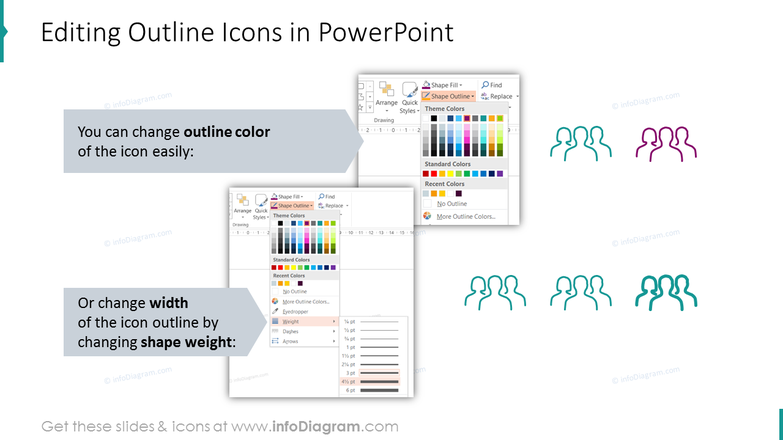 Editability of outline icons in PowerPoint