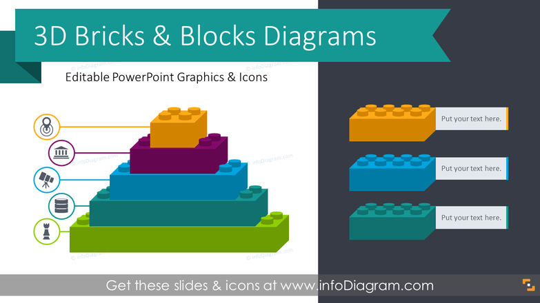 3D Bricks Graphics Blocks Diagrams (PPT Template)