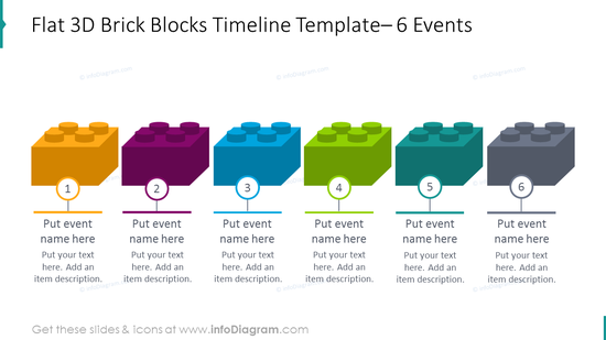 Template for flat 3D blocks timeline placing 6 events