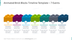 Animated timeline shaped bricks blocks with 7 events